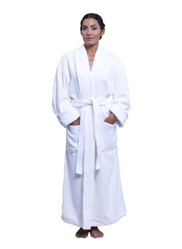 Boca Terry Classic Shawl Collar Bathrobe White 14oz Velour XX-Large - (Classic Terry Robe)