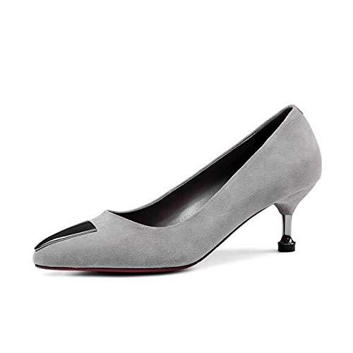 Black Gray Gray ZHZNVX Suede Mujer Zapatos Comfort Heels Fall Heel de Stiletto xqRzxrP