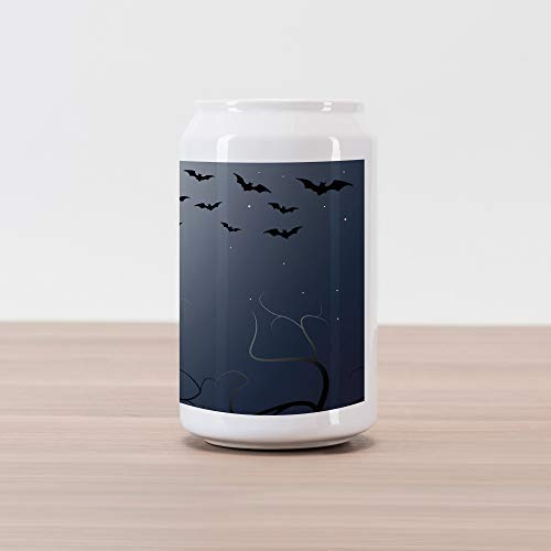 Lunarable Halloween Cola Can Shape Piggy Bank, Beautiful Witch in Twilight on High Hill at Hazy Night Magic Tale, Ceramic Cola Shaped Coin Box Money Bank for Cash Saving, Night Blue Coconut -