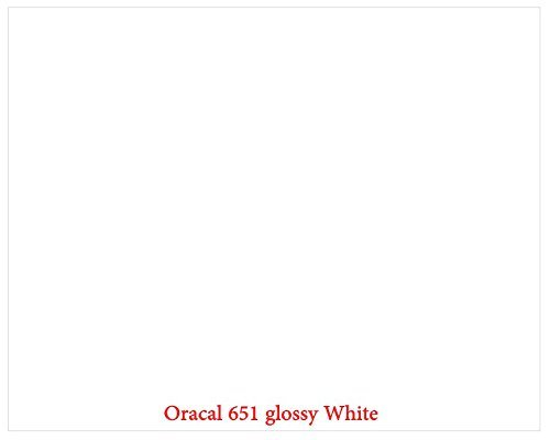 ": 12"" x 10 Ft Roll of Glossy Oracal 651 White Permanent Adhesive-Backed Vinyl for Craft Cutters, Punches and Vinyl Sign Cutters"