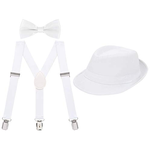 - HDE Kids Adjustable Suspenders Boys Pre-Tied Bow Tie and Short Brim Fedora Hat