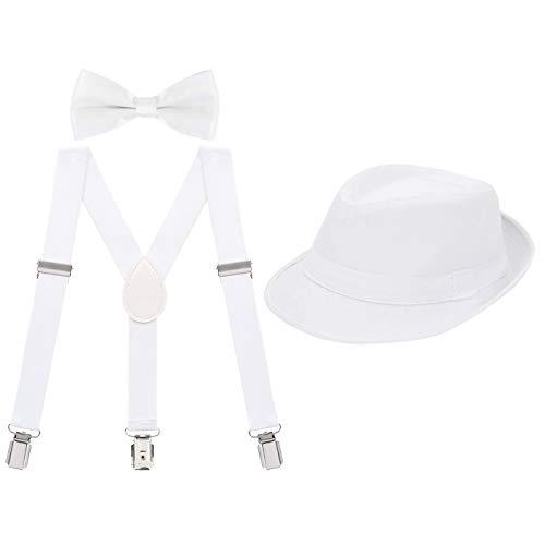 HDE Kids Adjustable Suspenders Boys Pre-Tied Bow Tie and Short Brim Fedora Hat -