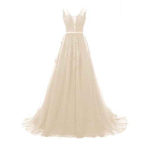 c36689dfa563c Bess Bridal Women s Elegant Lace V Backless Tulle Formal Prom Evening  Dresses Champagne