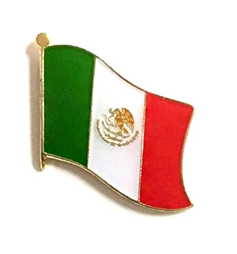 Wholesale Pack of 50 Mexico International Single Flag Lapel Pins, 50 Mexican Enamel Tie & Hat Pin Badges with Over 100 Countries Available
