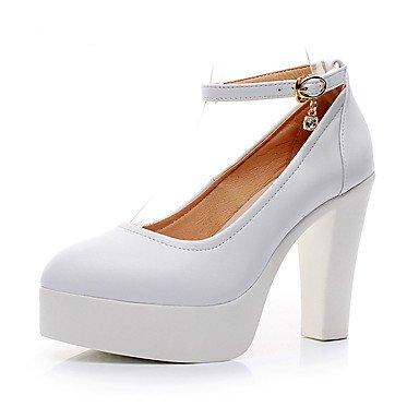 Carrera La Microfibra Zapatos Negro Formales De Pulg 2A 5 Mujer Oficina Formales CN43 Talón Chunky Boda Primavera Zapatos US10 5 Tacones Verano Blanco 4 UK8 amp;Amp; EU42 3 2 Pu Sintético O6qwO