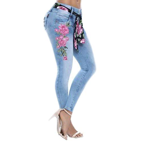 JOFOW Skinny Jeans Womens Solid Embroidery Floral Flowers Denim Long Pencil Pants Casual High Waist Stretch Crop Trousers (2XL,Blue)