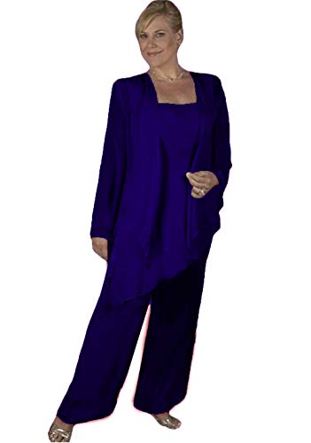 WZW Plus Size Mother of The Bride Pant Suits with Jacket Formal Evening Pant Suits Royal Blue