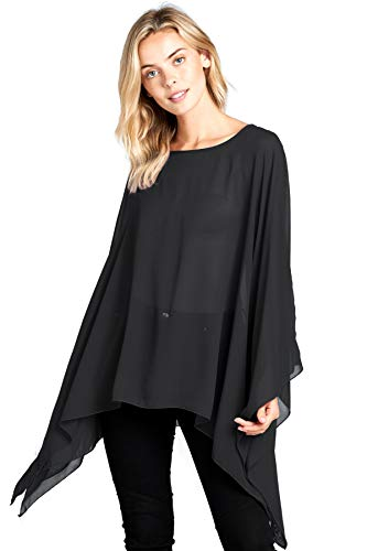 (Modern Kiwi Solid Sheer Chiffon Caftan Poncho Tunic Top Black One)