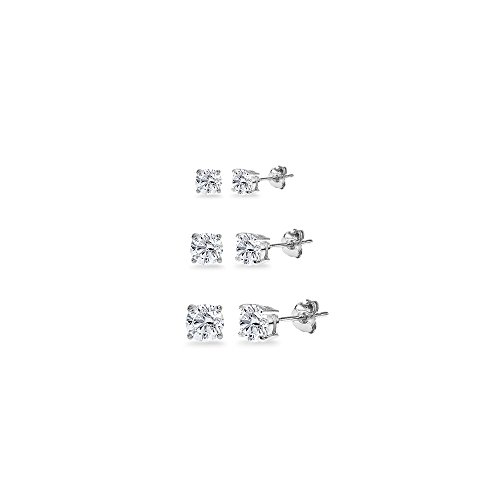 (3-Pair Set Sterling Silver White Topaz Round Stud Earrings, 3mm 4mm 5mm)