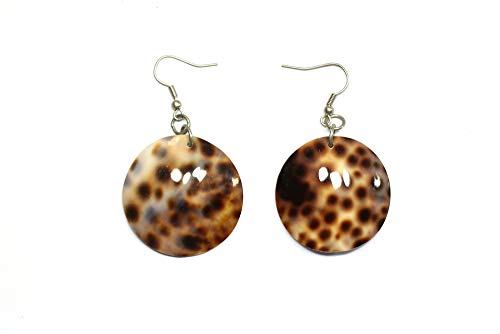 Cowrie Tiger Shell Tiger Round 35 mm Dangling Earrings -