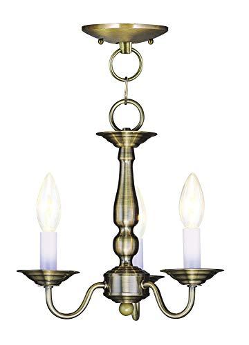 (Livex Lighting 5009-01 Williamsburg 3-Light Convertible Hanging Lantern/Ceiling Mount, Antique Brass)