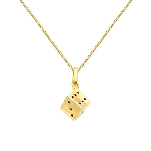 14k Gold Dice Charm - Wellingsale 14k Yellow Gold Polished Dice Charm Pendant with 0.65mm Box Link Chain Necklace - 22
