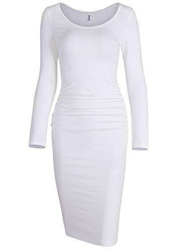 Missufe Women's Long Sleeve Ruched Bodycon Knee Length Sheath Maternity T-Shirt Fitted Beach Dress (Scoop Neck Ivory White, X-Small)