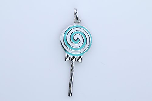 Lollipop Enameled - Silver Stripe Enameled Lollipop Candy Swirl Pendant Necklace