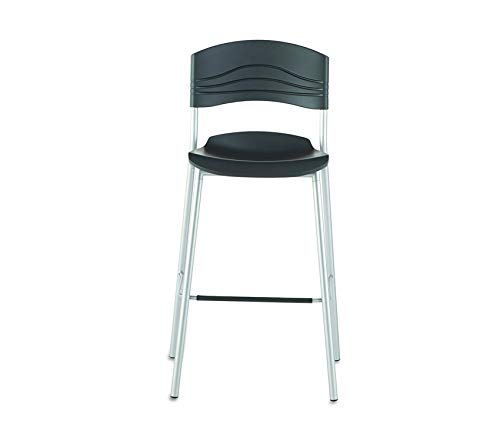 Wood & Style Office Home Furniture Premium CafeWorks Bistro Stool Chair with Heavy Gauge Steel Frame, 23 Width x 44 Height x 22 Depth, Black