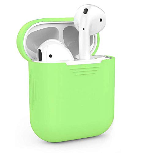 ZALU Compatible for AirPods Case Protective Silicone Cover and Skin for AirPods Charging Case 2 & 1 [Front LED not Visible] [Wireless Rechargeable] (Green)