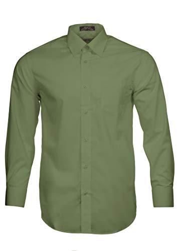 Alberto Danelli Men's Solid Long Sleeve Dress Shirt Pistachio, XXXX-Large / 20-20.5