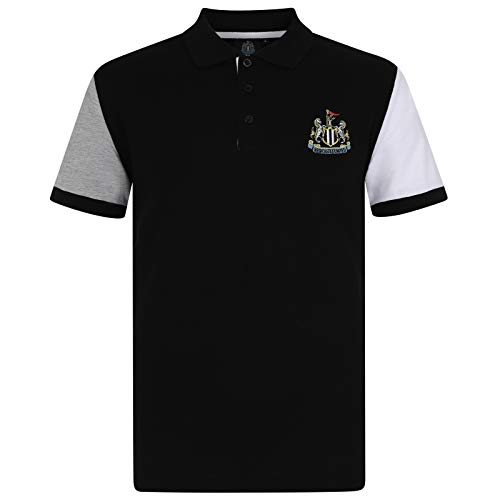 Newcastle United FC Official Gift Mens Contrast Sleeve Polo Shirt Black ()
