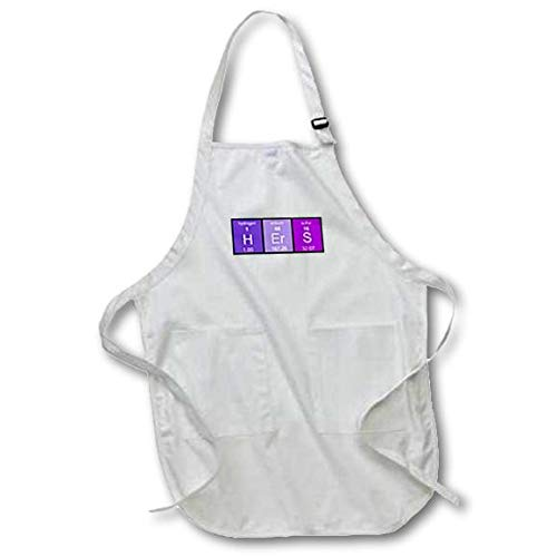 3D Rose Purple Hers in Periodic Table of Elements Symbols Half of His and Hers Medium Length Apron-with Pouch Pockets 22 x 24 3dRose apr/_233060/_2