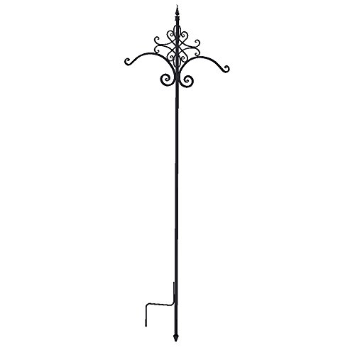 84'' Quatrefoil Double Shepherd Hook, Black by Panacea