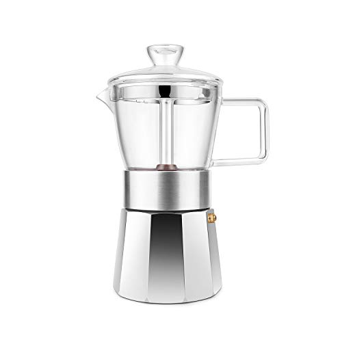 GEESTA Premium Crystal Glass-Top Stovetop Espresso Moka Pot – 6 cup – Coffee Maker