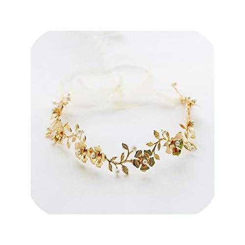 Bride Wedding Hair Accessories Pretty Pearl Flower Hair Band Metal Leaf Handmade Hair Jewelry,Gold