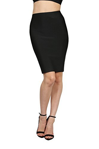 Wow Couture Women's Basic Bandage Pencil Skirt Black