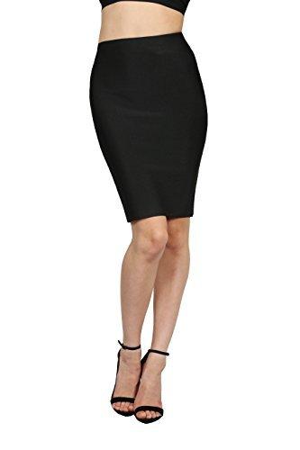 Wow Couture Women's Basic Bandage Pencil Skirt Black