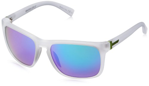 VonZipper Lomax Oval Sunglasses,Ice Satin,55.5 - White Sunglasses Von Zipper