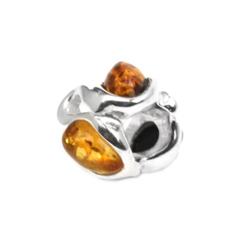 Multicolor Amber Sterling Silver Small Twisted (Amber Charms)
