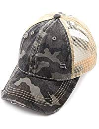 C.C Exclusives Hatsandscarf Washed Distressed Cotton Denim Ponytail Hat Adjustable Baseball Cap (BT-15) (Dk. Grey/Camo) - Genuine Baseball Hat