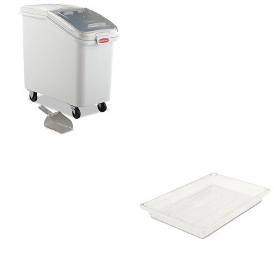 KITRCP3306CLERCP360288WHI - Value Kit - Rubbermaid-Clear Food Boxes; 5 Gallon 5 Gallon (RCP3306CLE) and Rubbermaid-White Slant Front Ingredient Bin with Sliding Lid and 32 Ounce Scoop, 3 1/2 cu ft. (RCP360288WHI)