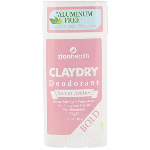 ClayDry Bold Sweet Amber Deodorant Zion Health 2.8 oz Stick