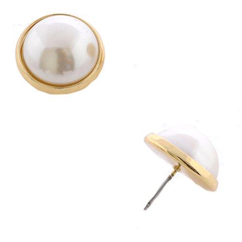 (Topwholesalejewel Wedding Earrings Gold Plating Faux Dome Pearl Stud Earrings)