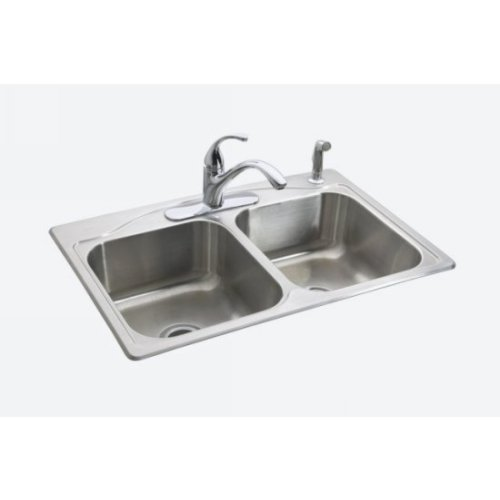 KOHLER K-3145-4-NA Cadence Top Mount Kitchen Sink with Four Faucet Holes, 33'' x 22'' x 8-5/16'' , Stainless Steel - 114718, 9'' x 34'' x 23'' by Kohler