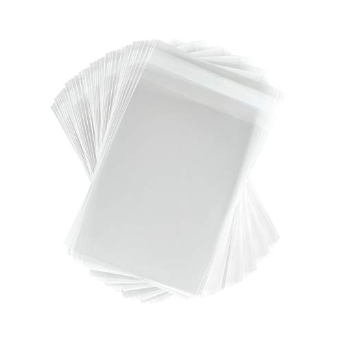 200 Crystal Clear Plastic Cello Bags (5.43 x 7.25 Inch) - Resealable Cellophane Sleeve w/Self Adhesive Flap Protects Greeting Cards, Photos, Candy, USPS Mailer (1.6 Mil Thick) CELLO5-7/16X7-1/4CL200 (4 X 5 Negative Sleeves)