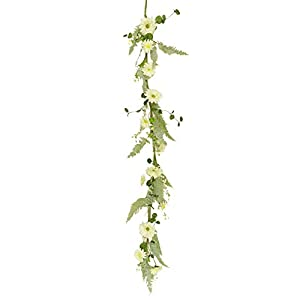 "Silk Flower Arrangements Your Heart's Delight 10"" L x 2"" W x 60"" H White Daisies Garland"