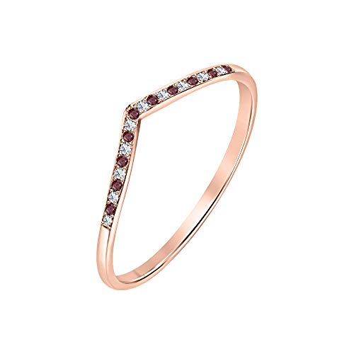 tusakha 0.35ctw Red Garnet & White CZ Diamond 14K Rose Gold V Chevron Curved Half Eternity Wedding Band Ring for Womens Over 925 Sterling Silver - Gold 14k Chevron