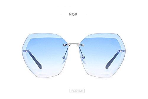 Brown Gafas Las De LZHA UV400 Sol Gafas Protrction De Mujeres Tamaño Las De Sol Blue De De Montura Sin Gran Clásicas PqqXxvAwH