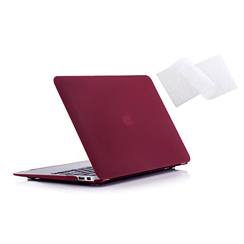 Ruban - Air 11-inch 2 in 1 Soft-Touch Hard Case Cover and Keyboard Cover for Macbook Air 11.6 Models: A1370 / A1465 - Wine Red