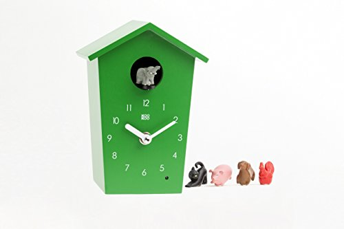 KOOKOO AnimalHouse Green, Cuckoo Clock, Wall Clock with 5 Farm Animals, Field Recordings from Nature, Modern Design Sleek Clock by KOOKOO