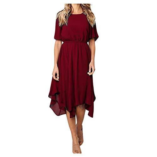 sizhangdd Women Casual Short Sleeve Dresses Knee Length Evening Party Dress Short Sleeve,Wine Red,XL