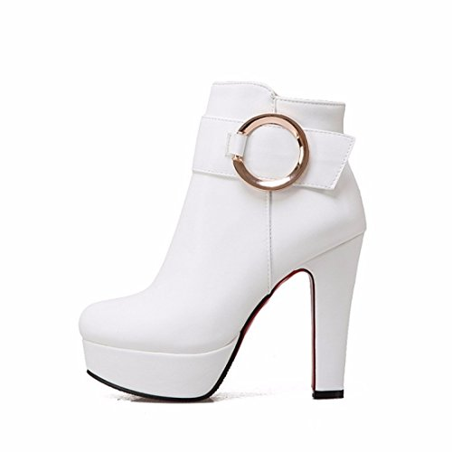 RFF-Women's Shoes Autumn and winter female high-heeled shoes waterproof boots shoes size White 06qxg41P