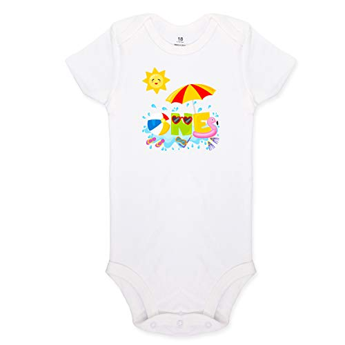 Baby Onesie Beach Ball First Birthday Party Bodysuit Boy & Girl Cake Smash White