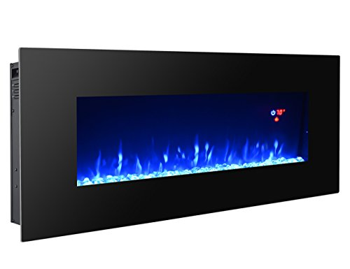 3GPlus 50' Electric Fireplace Wall Mounted Heater Crystal Stone Fuel Effect 3 Changeable Flame Color w/Remote- 50' / Black