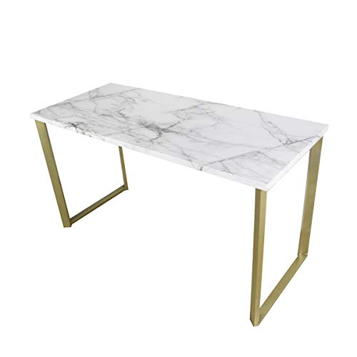 Roomfitters Marble Print Top Writing Desks/Workstation for Home Office, Gold Legs, 55.1