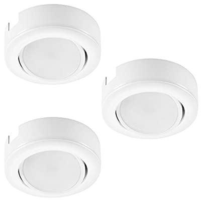 GetInLight Dimmable Puck Light Kit with ETL List, Recess or Surface Mount Design, Bright White 4000K, White Finished, (Pack of 3), IN-010-3-4000K
