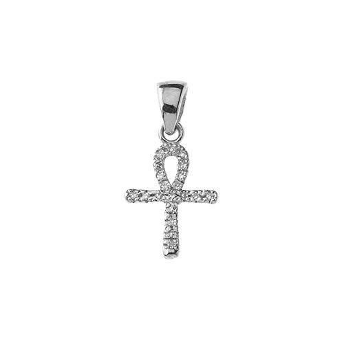 Accented Key Pendant Diamond (Exquisite 10k White Gold Mini Diamond Ankh Cross Pendant)