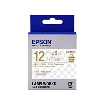"Epson LabelWorks Clear LK (Replaces LC) Tape Cartridge ~1/2"" Gold on Clear (LK-4TKN) - For use with LabelWorks LW-300, LW-400, LW-600P and LW-700 label printers"