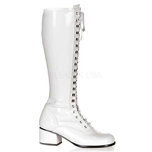 Lace Up Gogo Boots (Funtasma by Pleaser Women's Retro-302 Lace Up Gogo Boot,White Stretch Patent,8 M)